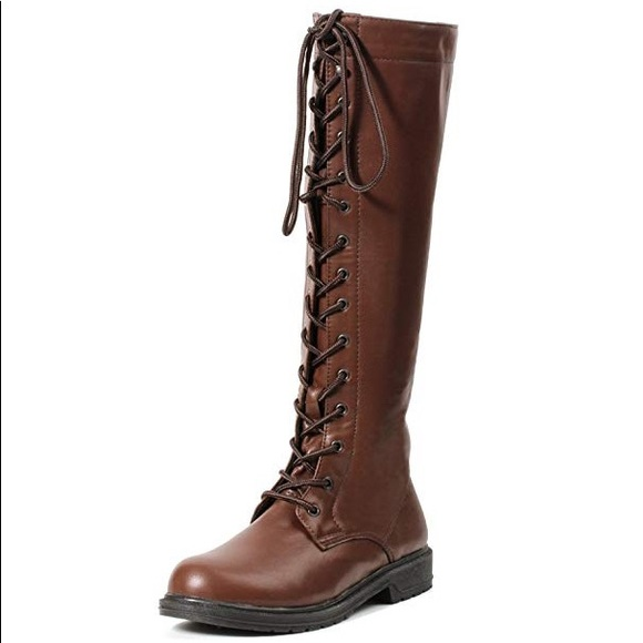 f74f11489e7 Brown Faux Leather Lace Up Knee High Boots Combat